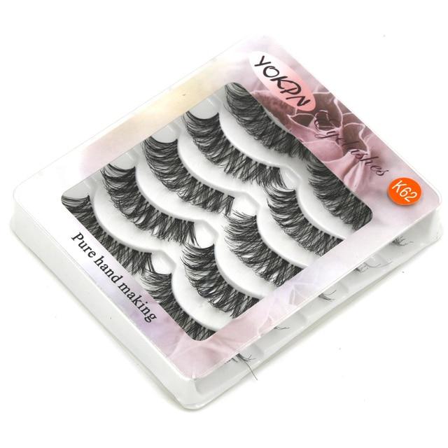 YOKPN 5 Pairs Transparent False Eyelashes Messy Cross Thick Natural Fake Eye Lashes Makeup Tips Bigeye Long False Eye Lashes 2