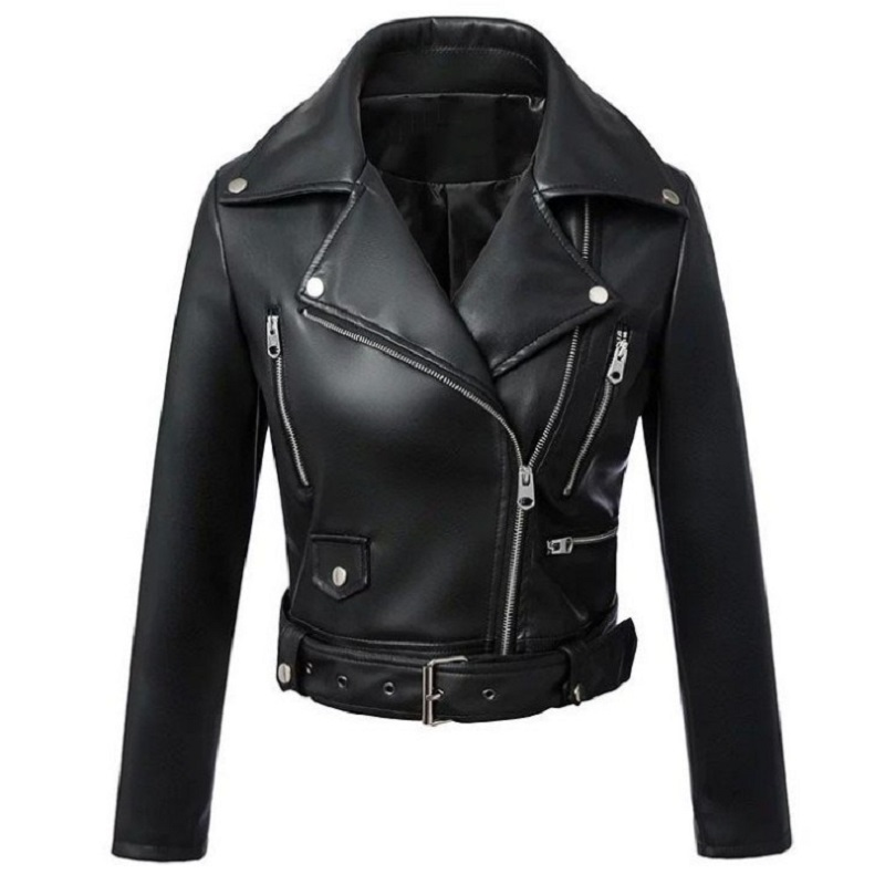 2019 New Fashion Women Autumn Winter Black Faux Pu   Leather   Jackets Zipper Basic Coat Turn-down Collar Biker Jackets With Belt