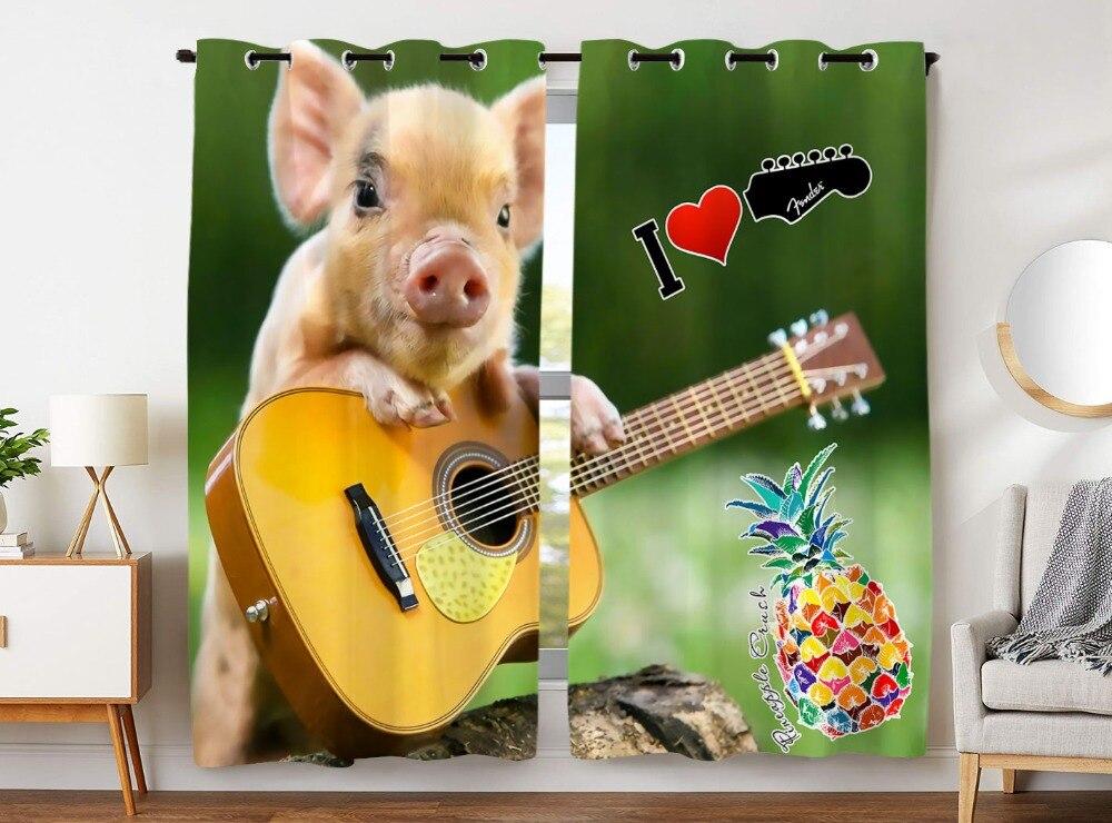 HommomH rideaux (2 panneau) passe-fil haut assombrissement chambre guitare mignon cochon ananas Fruit amour musique vert