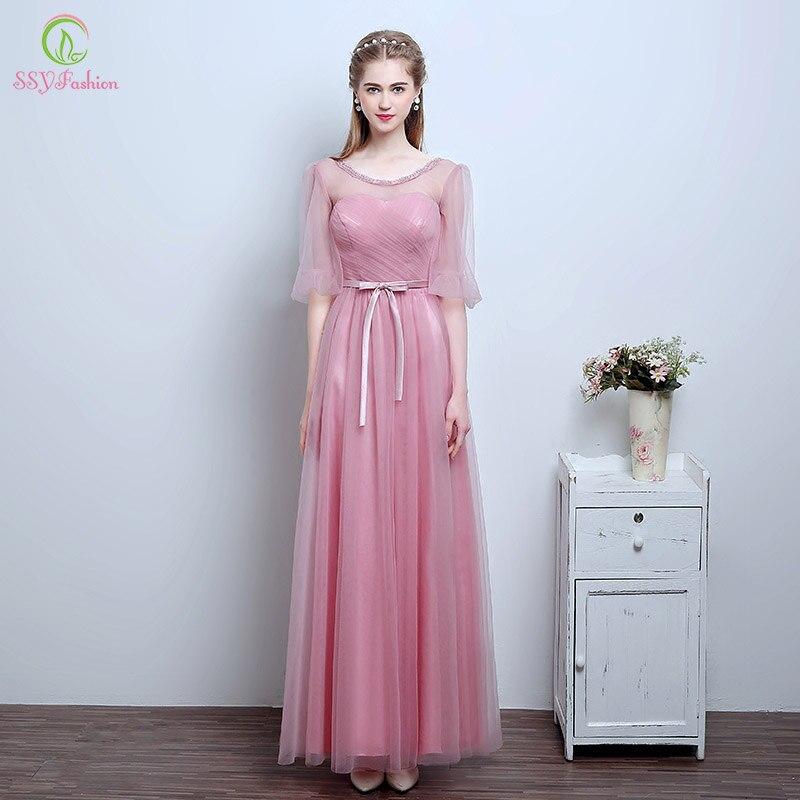 Robe de Soiree ssyfashion dulce Rosa Vestidos de dama de honor 4 ...