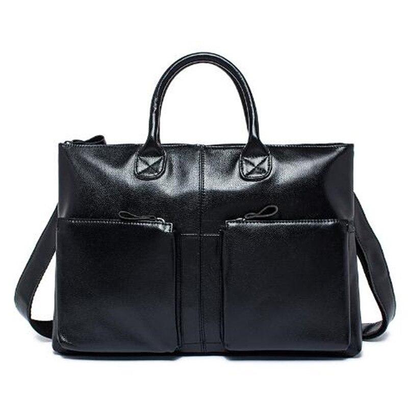 100% Genuine Leather Bag 2017 Casual Briefcase Business Shoulder Bag Cowhide Men Crossbody Bags Mens Travel Laptop Handbags 502