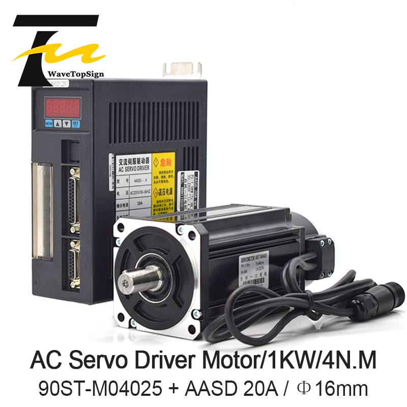 WaveTopSign Servo Motor Driver 1000W 4N MAC Servo Motor 90ST M04025 AC Servo Motor Driver 220V