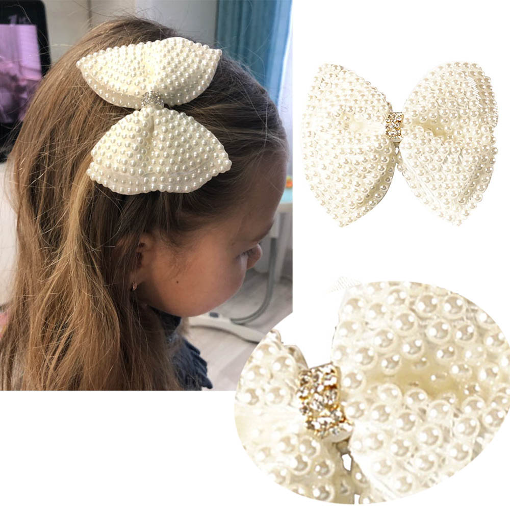 "2 Pcs/lot 3.5"" White Rhinestone Bow For Lady Children Cute Pearls Hair Bow With Alligator Hair Clips Beads Hairgrip Hair Equipment"