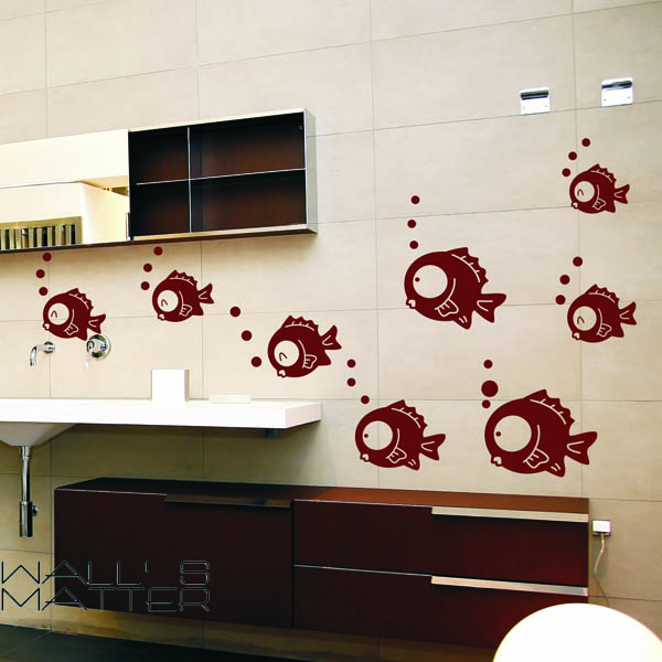JJRUI Wall Vinyl Decal Small Fish Sticker Bubbles Home Design Bathroom Decor Sticker Art Dcor Mural 21 COLOUR