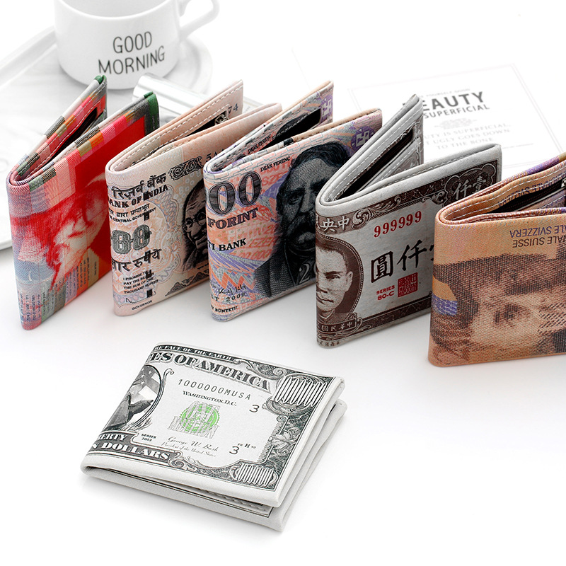 Hot Fashion Money Printing Pattern Wallet Mens Women Unisex Pound Dollar Euro Wallet Chic Currency Notes Pattern Purse in Wallets from Luggage Bags