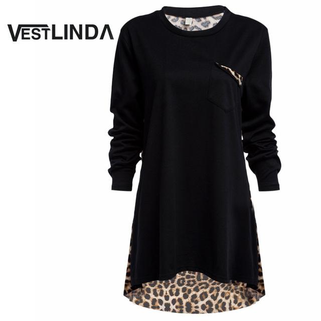 VESTLINDA Longas Blusas Mulheres Casual Solto Plus Size XL-5XL Blusa Top O Pescoço Leopardo Bolsos Plena Manga Camisa Primavera Feminino