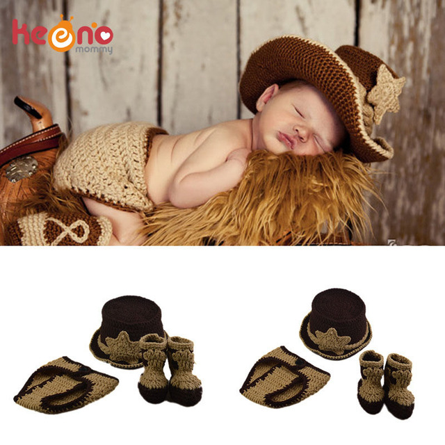 0f705b72f712c5 Keenomommy Western Cowboy Style Newborn Boy Photography Props Baby Knitted  Cowboy Hat with Diaper and Booties Set H299