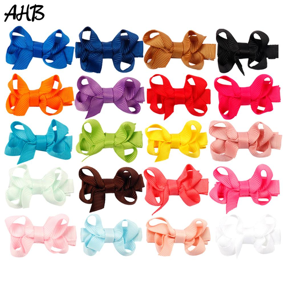 AHB 20pcs/lot 2 Hair Barrettes for Baby Girls Clips Bow Fashion Solid Small Bows Childrens Hairpins Kids Headwear