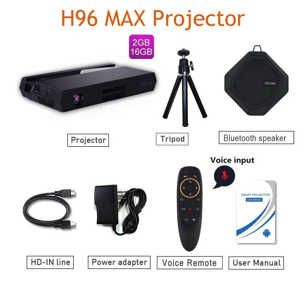 H96 MAX projetor 2.4g & 5g wifi mergulho mini projetor pico bluetooth 2G 16G 4k amlogic S912 150 lumens Android 6.0 h96-p projetor