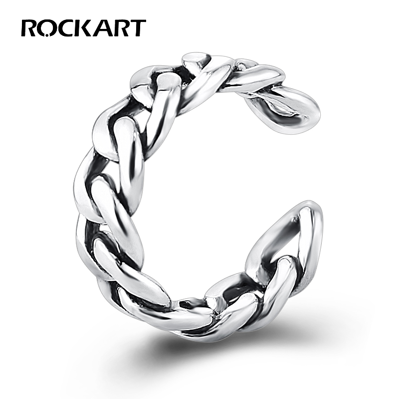 ROCKART Heavy 925 Sterling Silver Adjustable Cuff Ring For Women Luxury Fine Jewelry Top Quality Braided Chains Punk Style Big