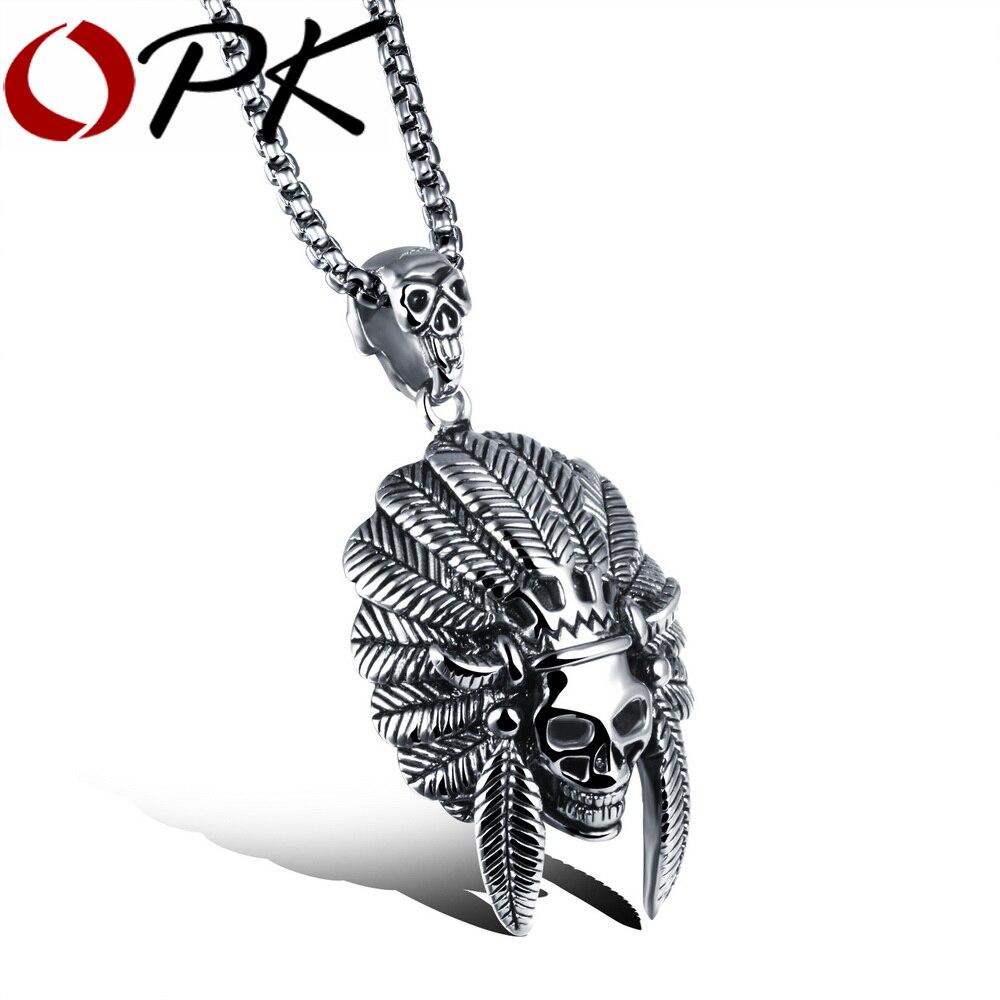 OPK Mode Mann Skelett Anhänger Halsketten Neue Native American Stil Edelstahl Coole Männer Schmuck Halskette GX1050