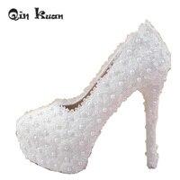 10CM 12CM 14CM Ladies Platform Beautiful Shoes Pearl High Heeels White Wedding Shoes Women Bridal Pumps