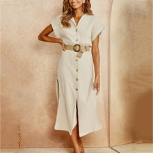 Women V Neck Casual Solid Dress Sleeve Loose Party long Dress 3.5