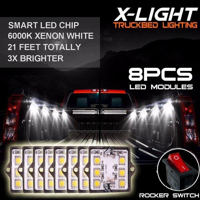 8pc Waterproof Pickup Truck Bed Light Kit LED Lighting