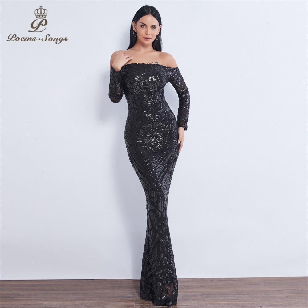 Poems Songs  2019  Sex Long Sleeve Sequin Mermaid Evening Dress Vestido De Festa Formal Party Dress Prom Dress Robe De Soiree
