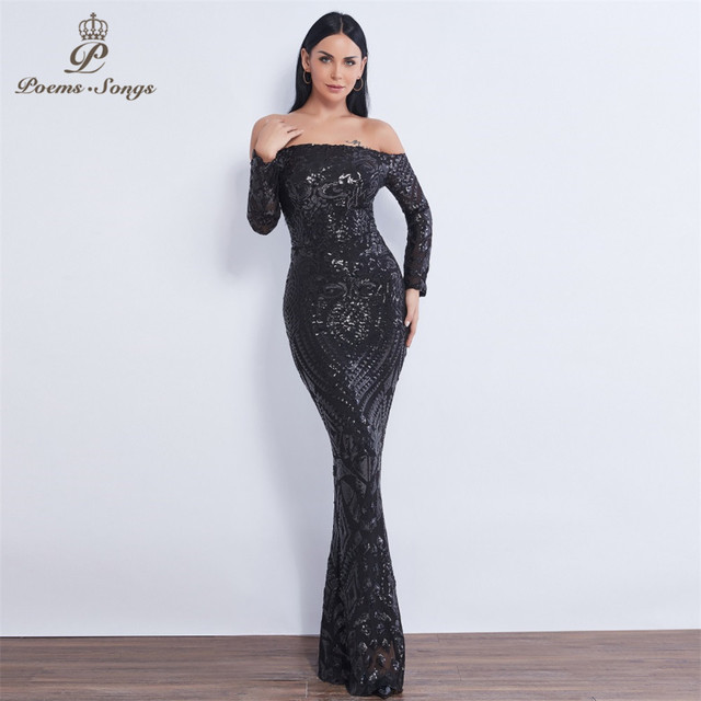 Poems Songs  Sex Long sleeve Sequin mermaid Evening dress vestido de festa formal party dress prom dress robe de soiree