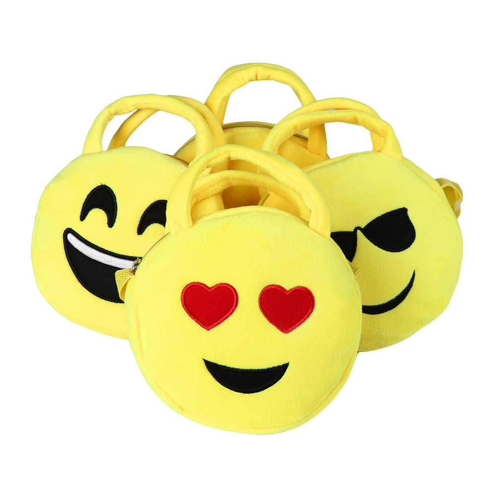 b4514ebfbdc4 New Cute School Bag Kids Funny Cartoon QQ Emoji 3D Printed School Bag  Children Emoticon Round