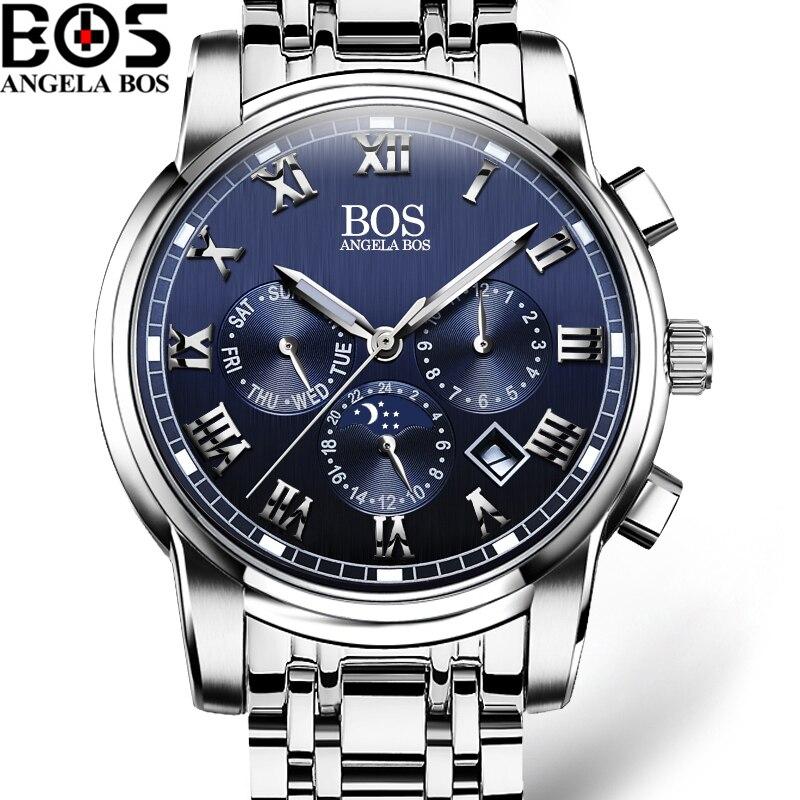 Relogio Masculino ANGELA BOS Waterproof Week Month Date Watch Men Fashion Luminous 12/24 Hours Quartz Wrist Watch Clock Saat