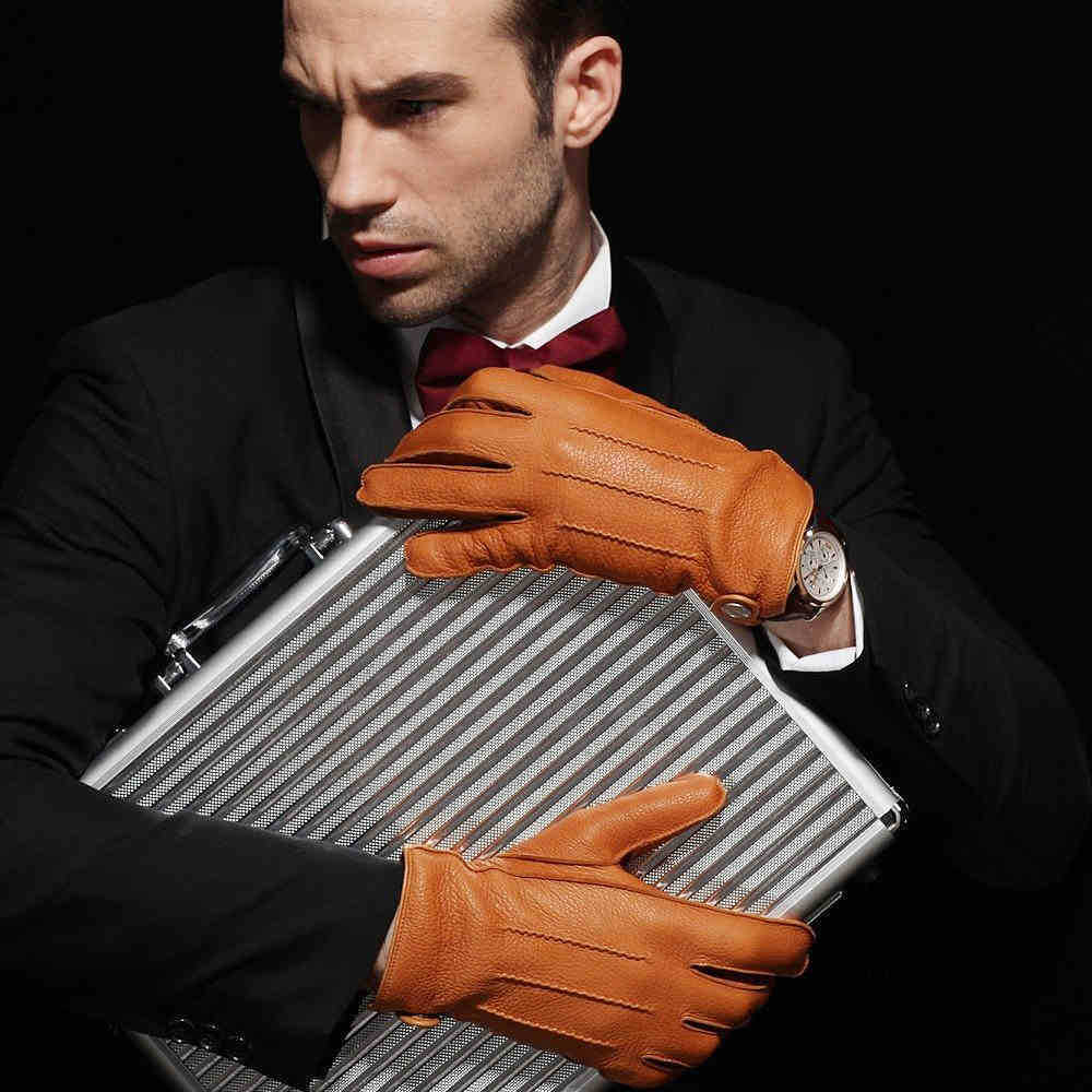 Mens deerskin gloves - High Quality Men Deerskin Gloves Full Finger Geuine Leather Driving Gloves Autumn Winter Warm Cashmere