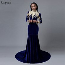 fbd401fcda Long Prom Dresses 2019 Sexy Mermaid High Neck Long Sleeve Gold Applique  African Royal Blue Velvet