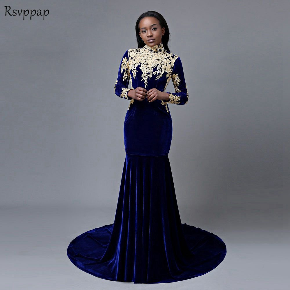 Long   Prom     Dresses   2019 Sexy Mermaid High Neck Long Sleeve Gold Applique African Royal Blue Velvet   Prom     Dress   Party