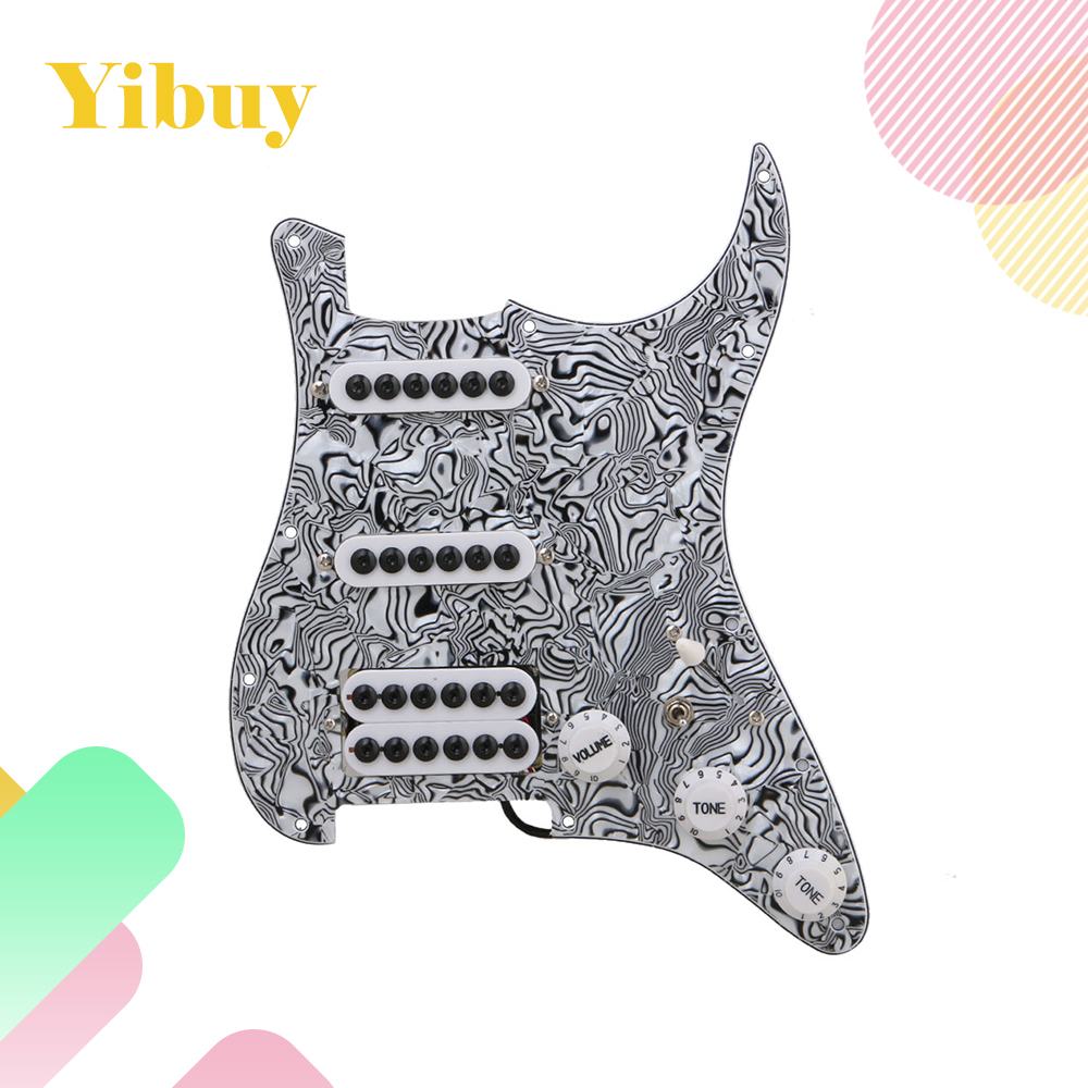 Yibuy Black White Zebra Pattern 3-ply Pickups Electric Guitar Loaded Prewired Pickguard set SSH wholesale 5x loaded prewired electric guitar pickguard pickups 11 hole hsh black