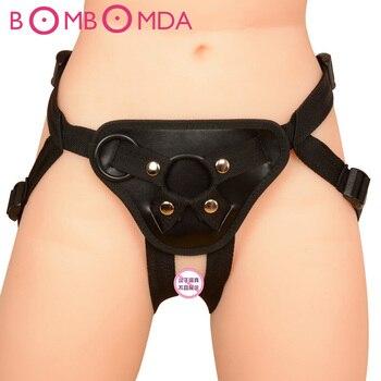 Vendaje de consolador con correa de cuero PU, arnés con correa Ultra flexible, consolador con correa, juguetes eróticos pareja, producto sexual para adultos O35