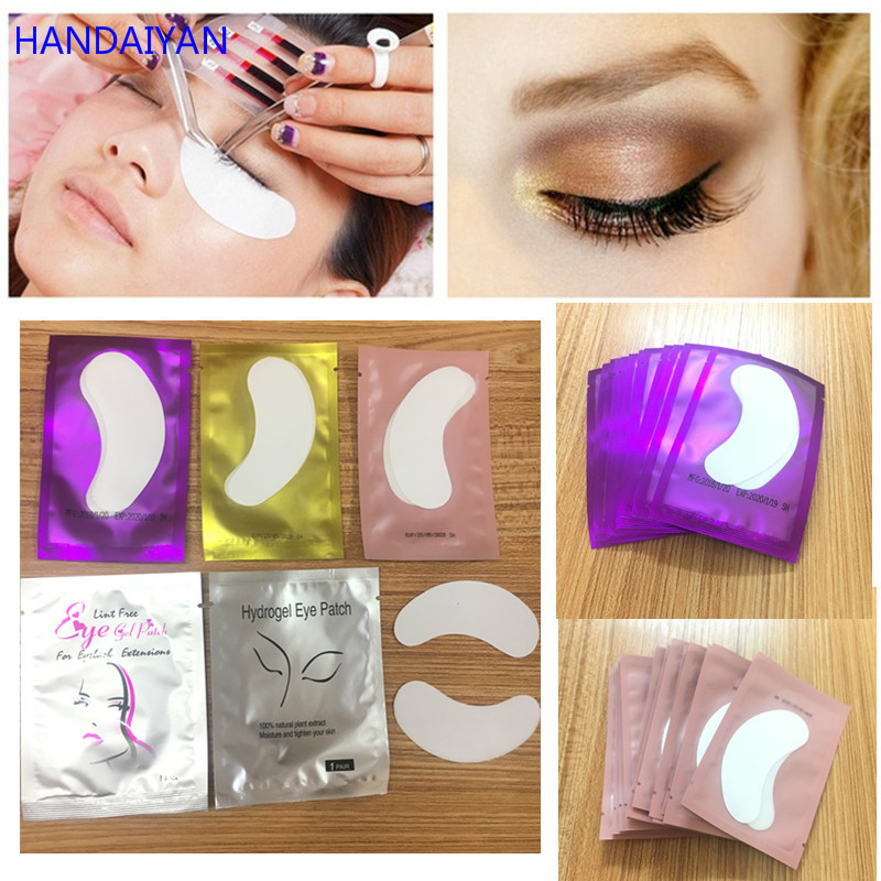 100pairs Disposable Eye Pads Lash Paper Patches Hydrogel Eye Patch Eyelash Extension Eye Tips Sticker Wraps Makeup Tool Kits