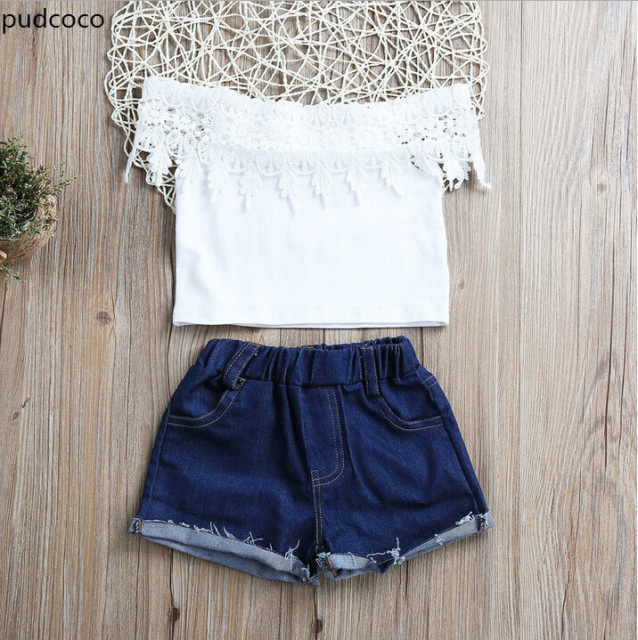 Cute Kids Baby Girls Lace Off Shoulder Vest Tank Tops+Denim Short Briefs Outfits Clothes Set Slash Neck Tassels Girls Clothing cute girls kids summer outfits clothes white lace crochet vest tops shorts briefs set clothes back bandage clothing 2 7y