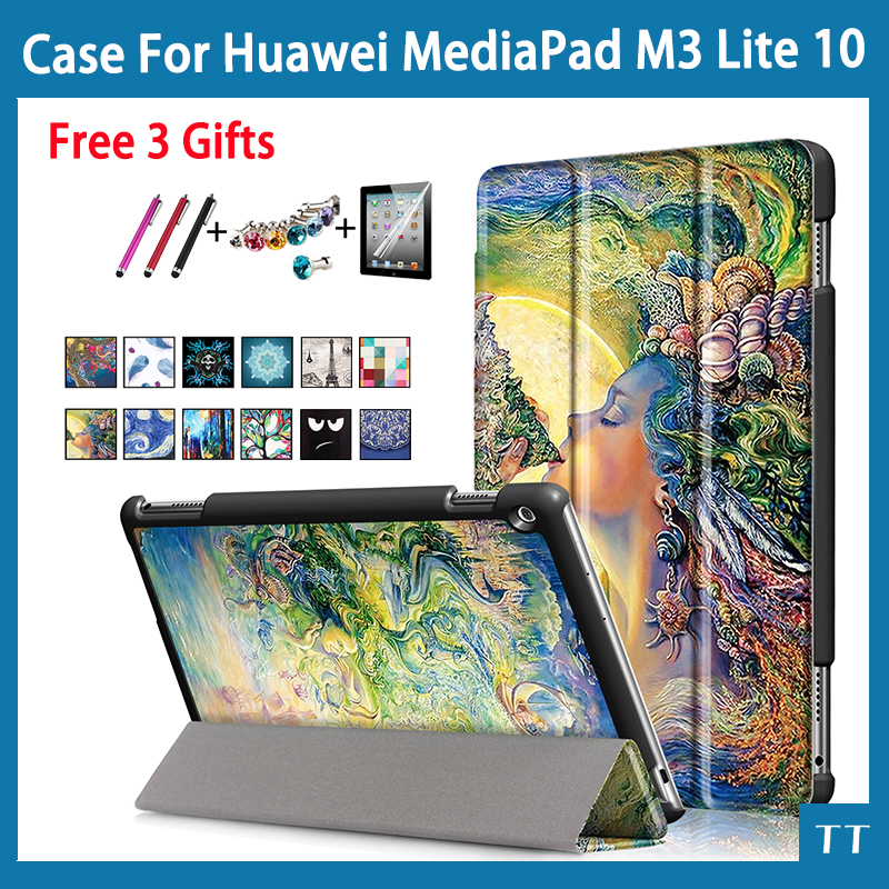 Case for Huawei MediaPad M3 Lite 10 protective cover case for BAH-W09 BAH-AL00 BAH-L09 10.1 tablet + free Screen film gifts 9h tempered glass for huawei mediapad m3 lite 10 10 1 inch bah w09 bah al00 screen protector for huawei m3lite10 glass film 2 5d