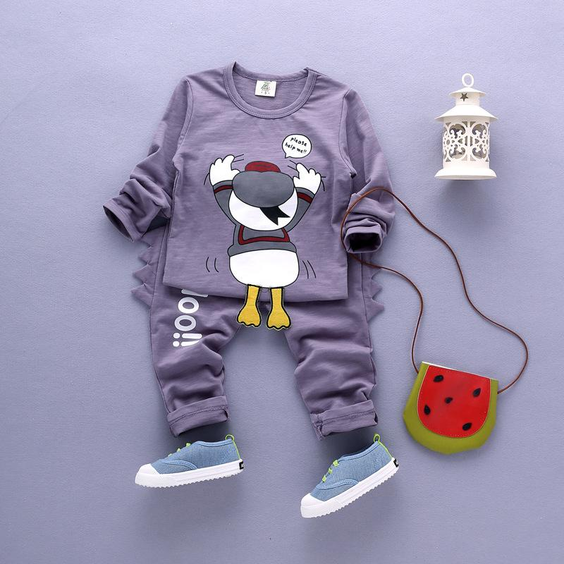 ФОТО Children's Clothing Set Cartoon Long-sleeved Sweater Kid Suit Spring Autumn Girl Clothing 2017 Two-Piece Boys Clothes