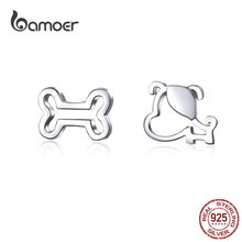 где купить bamoer Dog and Bone Stud Earrings  for Girl Sterling Silver 925 Cat Ear Pins Jewelry Bijoux Anti-allergy Jewelry GXE649 по лучшей цене