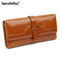 100 Oil Wax Cowhide Women S Wallets 2015 Retro Long High Capacity Genuine Leather Purse Woman