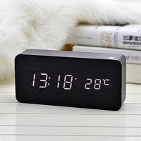 Antique Desktop Clocks With Three Alarm Group LED Silent Clock Digital Watch Board Bedroom Wooden Bamboo
