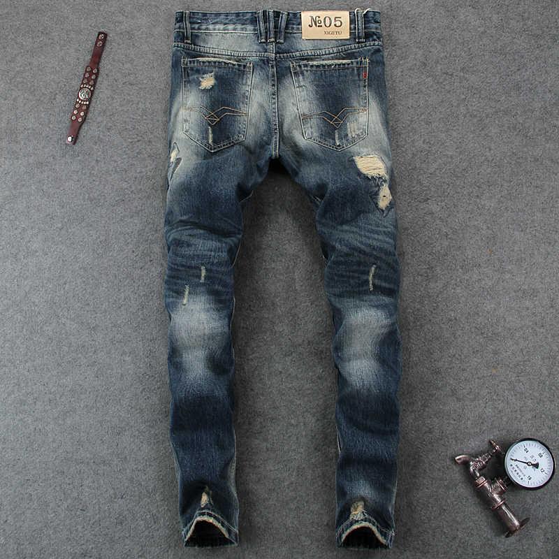 Vaqueros de estilo italiano a la moda para hombre de alta calidad Slim Fit deshilachados con agujeros rasgados para hombre ropa de marca Denim Biker Jeans pantalones