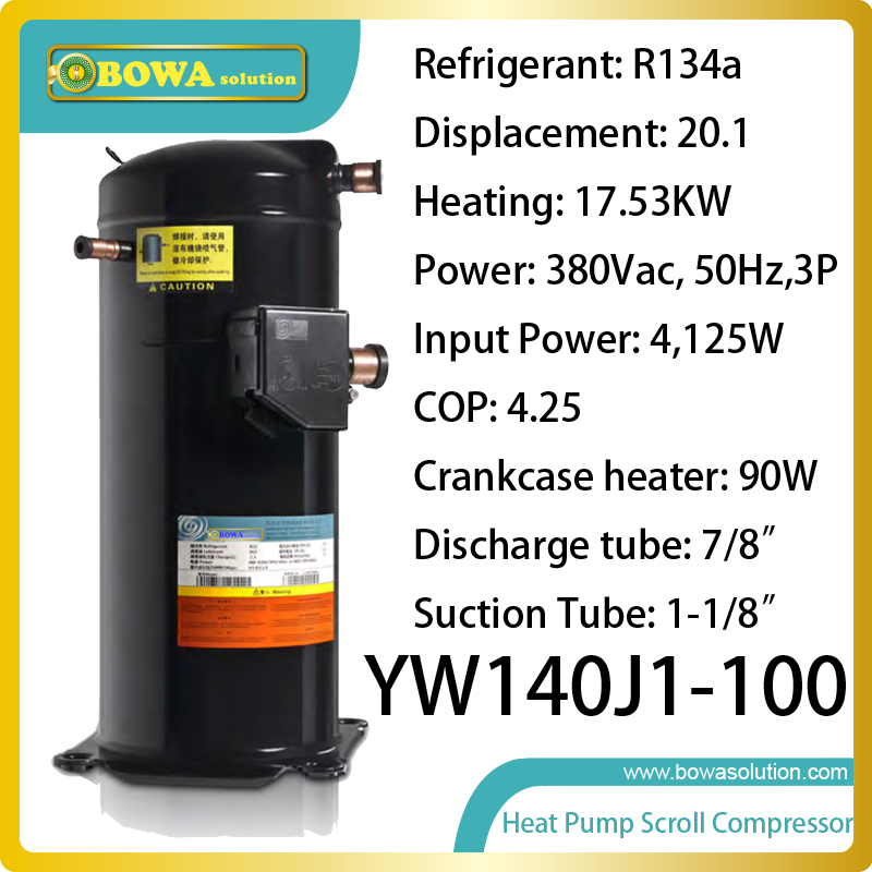 17.5KW heating capacity R134a ultra high temperature scroll compressor replace mitsubishi scroll compressor  цены