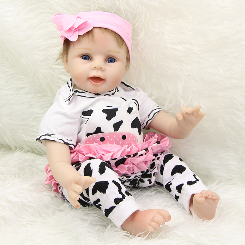 New Style Cloth Body Reborn Babies 22 Inch Soft Silicone Newborn Girl Dolls With Cow Clothes Set Kids Birthday New Year Gift