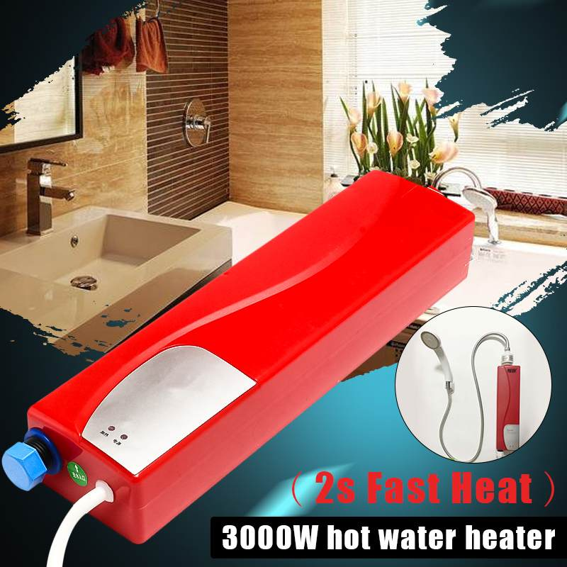 Electric Water Heaters 220V Instant Tankless Heating Shower LED Lights Leakage Protection Kitchen Bathroom 3000W
