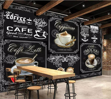 beibehang Custom wallpaper 3d photo mural European and American style retro hand-painted blackboard coffee catering