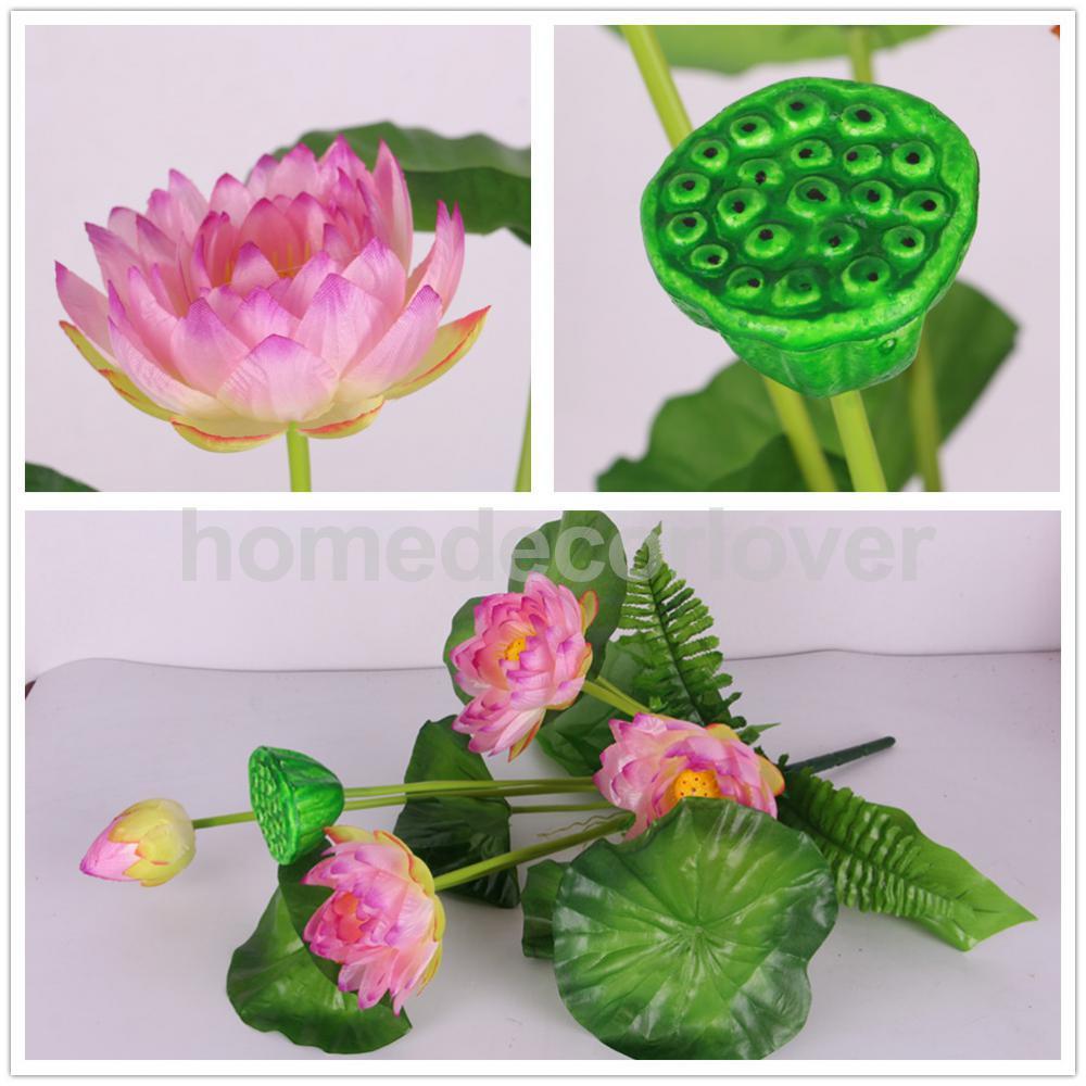1 Bouquet Silk Green Leaf Plant Mini Artificial Lotus Flower Desktop