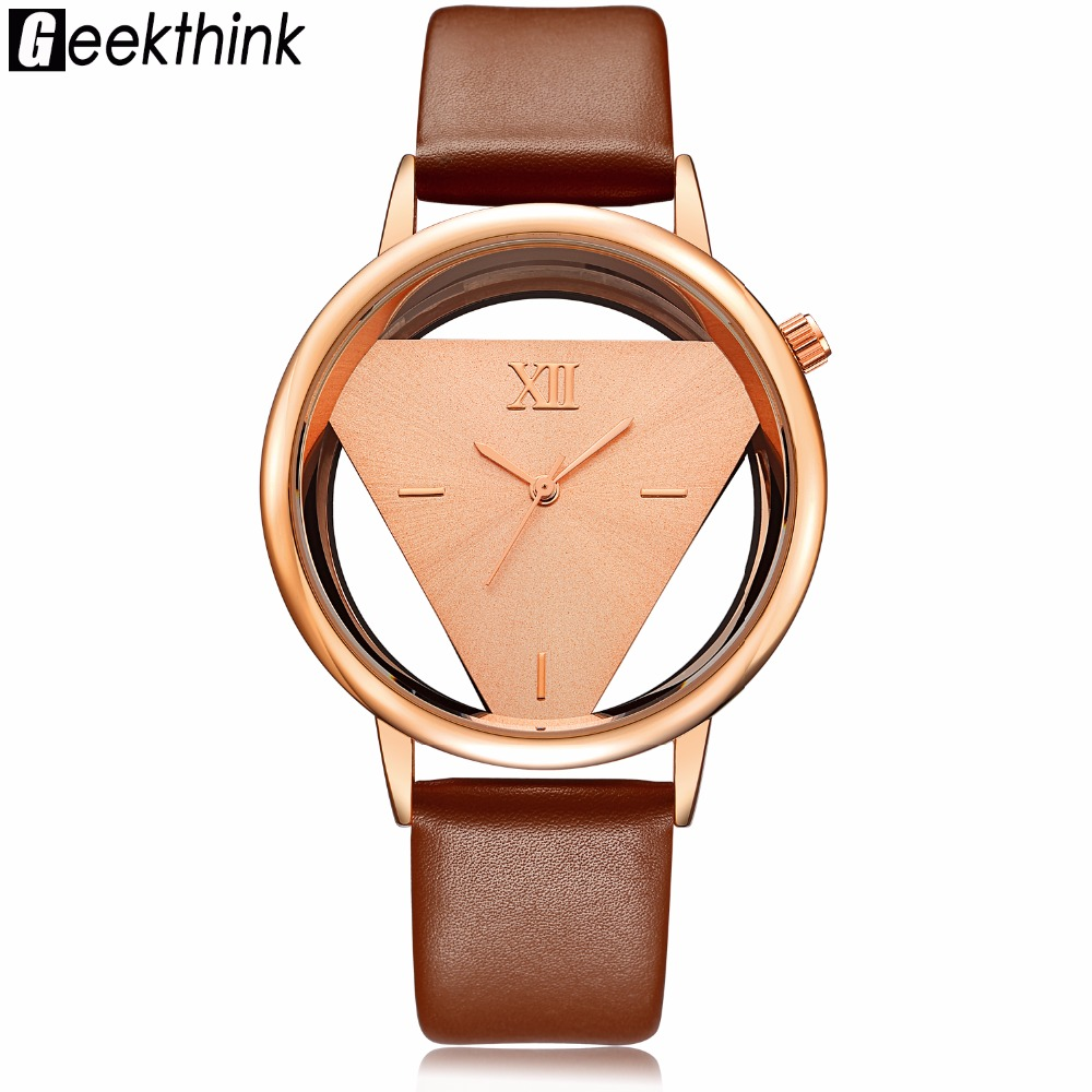 GEEKTHINK Hollow Quartz Watch Donna Luxury Brand Gold Ladies Casual Dress Cinturino in pelle Orologio femminile Girls Trending