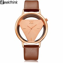 GEEKTHINK Hollow Quartz Watch Women Luxury Brand Gold Ladies Casual Dress Leather band Clock Female Girls Trending