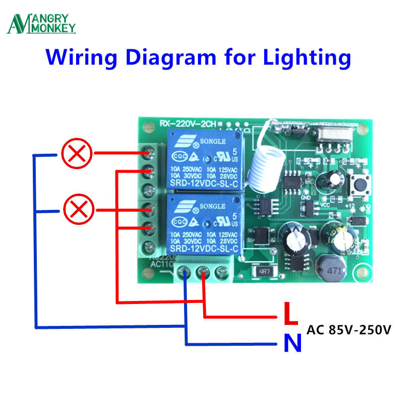 433mhz Universal Wireless Remote Control Switch Ac 250v 110v 220v 2ch Relay Receiver Module And 5pcs Rf 433 Mhz Controlsin Controls From: Remote Control 12v Dc Switch Wiring Diagram At Eklablog.co