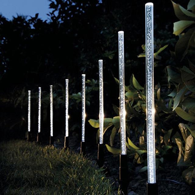Solar Power Tube Lights Lamps Acrylic Bubble Pathway  Lawn Landscape Decoration Garden Stick Stake Light Lamp Set