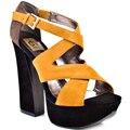 Красочные Замши Крест Галстук Квадратные Каблуки Открытым Носком Толстые Высокой Пятки Платформы Сандалии Для Женщин На Заказ Удобная Обувь