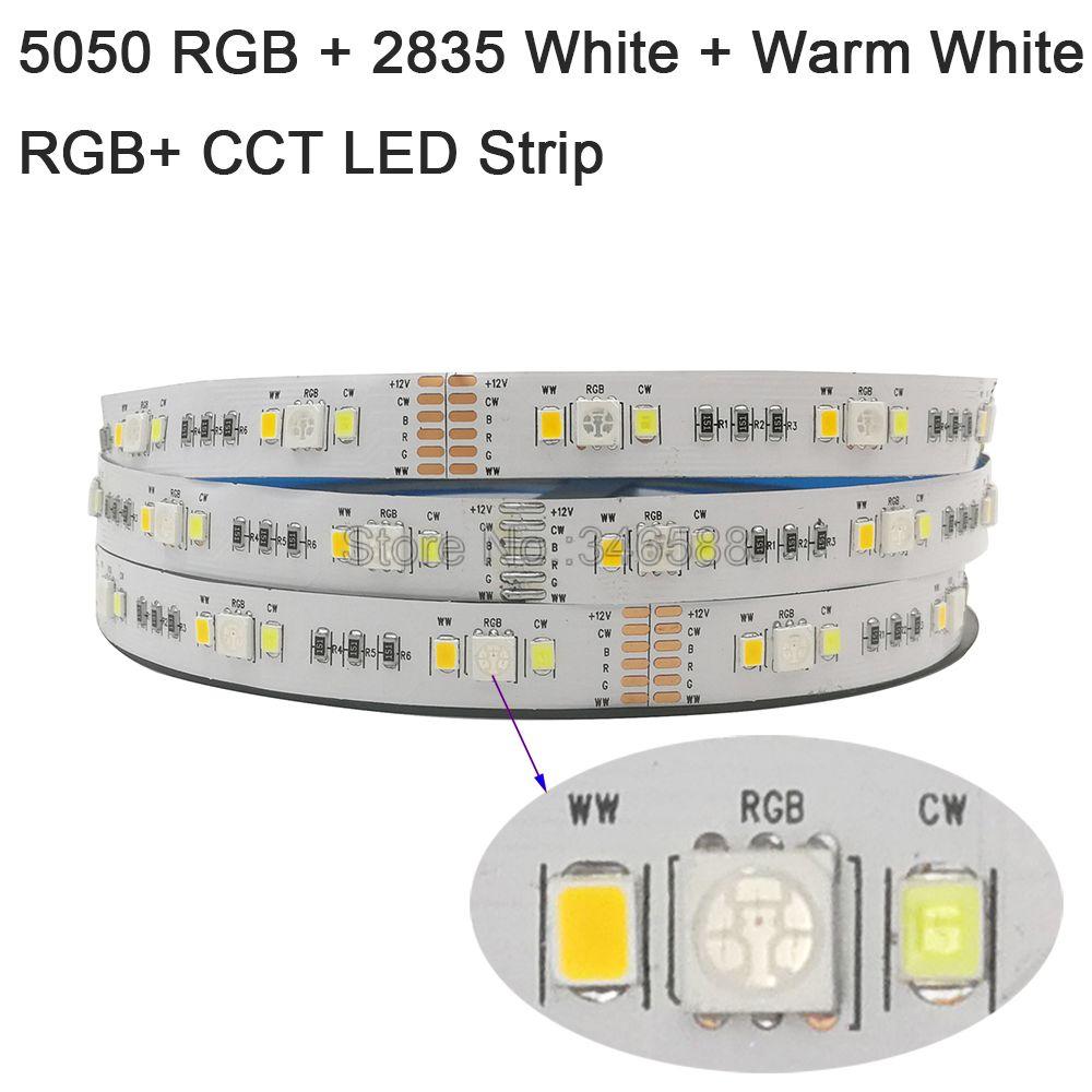 5m dc12v 24v rgb + cct conduziu a luz de tira 5050 rgb + 2835 branco fresco & branco quente smd ip20 ip65 ip67 impermeável rgbcct listra