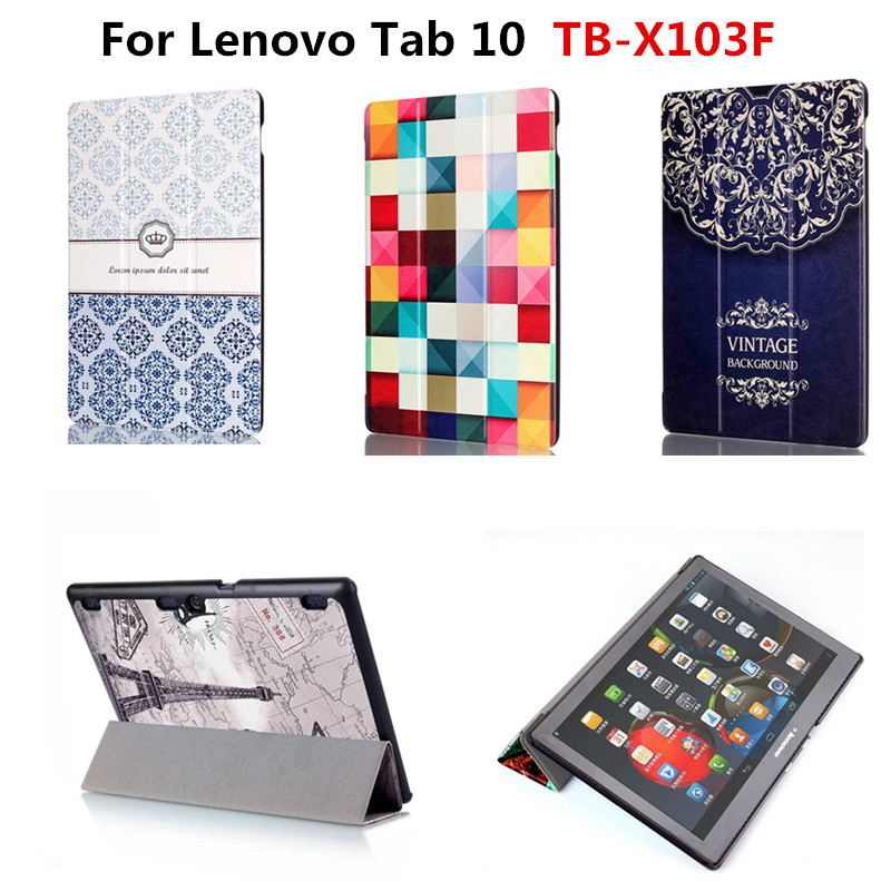 Slim Stand Cute Stand PU Leather Protector Skin With Magnetic Case Print Cover For Lenovo Tab 10 TB-X103F X103F 10.1'' Tablet new print luxury magnetic folio stand fashion prints flower leather case cover for lenovo tab 3 8 plus tab3 p8 tb 8703f tb 8703n