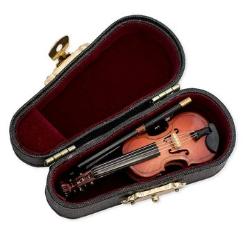 Hadiah Biola Alat Musik Miniatur Replika dengan Case