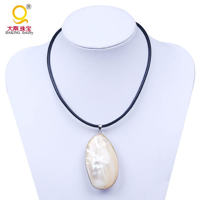 mother of pearl pendant. Unique Freshwater Shell Genuine Leather Necklace Mother Of Pearl Pendant Large Oval Choker