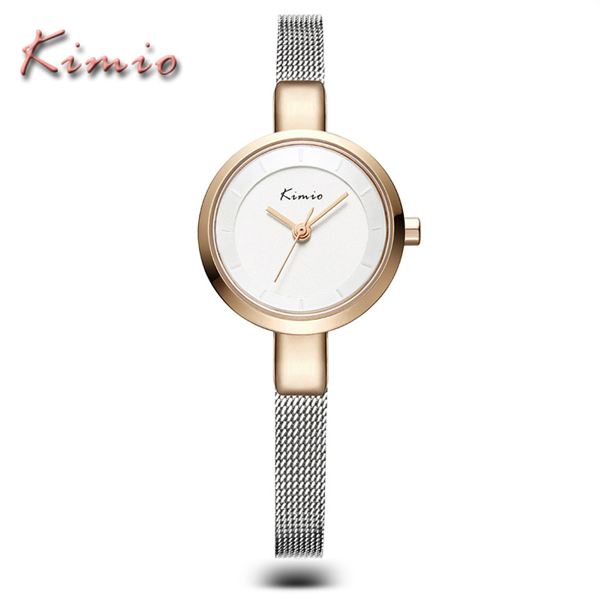 KIMIO Brand Rose Gold Luxury Slim Bracelet Ladies Casual Business Waterproof Clock Women Dress Stainless Steel Mesh Quartz Watch kimio luxury women dress bracelet watches business casual clock waterproof stainless steel analog quartz watch relogio feminino